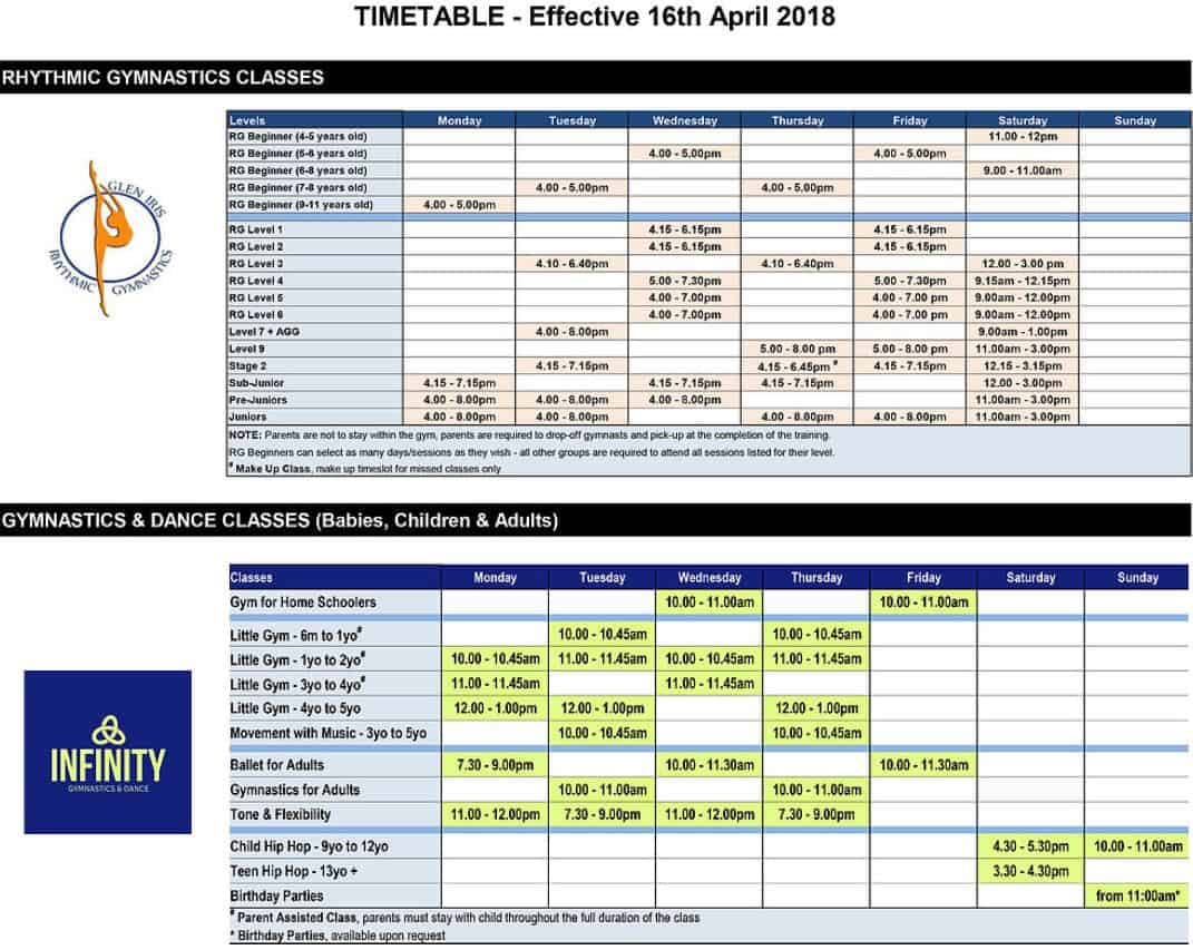 Infinity Gymnastics Class Timetable