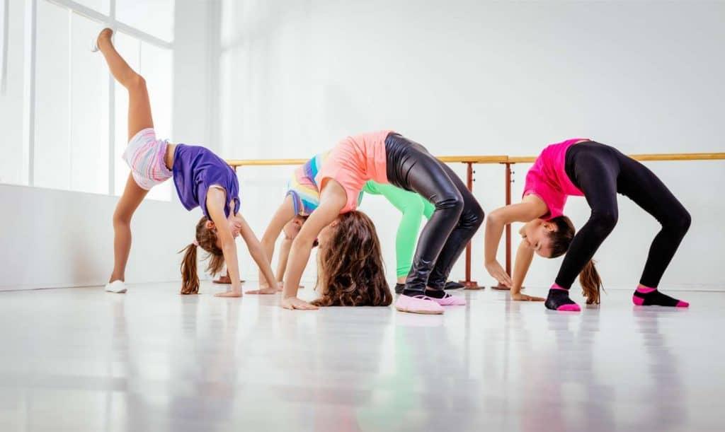 gymnastics girls doing flip