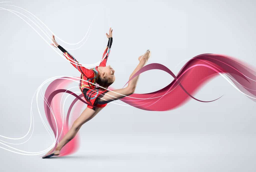 rhythmic gymnastics girl with string