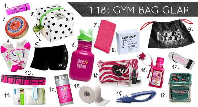 gymnasts bag items